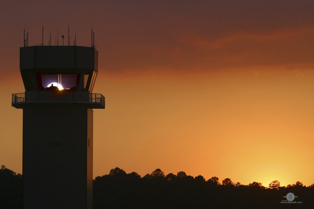 airport tower sunset