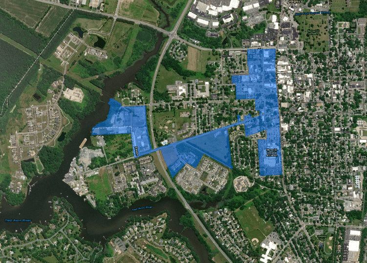 Satellite image with blue overly denoting boundary