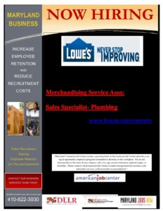 Several Positions Open, Lowes - Talbot County Economic